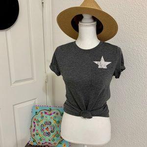 Gray White Pocket Star Tee Shirt Texas Vintage